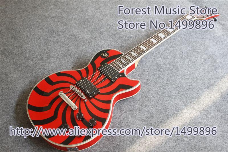 High Quality Classical Red G Zakk Wylde LP Electric Guitar Custom Black Windmill Guitar Body Left Handed Custom Available