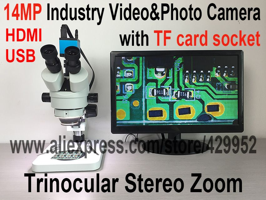 14MP HDMI USB Camera Trinocular Stereo Continues Zoom 7-45X Microscope for Fix Repair iPhone PCB Logic Board Tools Kits Set