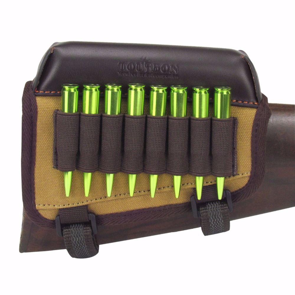 Tourbon Hunting Gun Accessories Rifle Gun Buttstock Cheek Rest Riser Pad Canvas With Ammo Cartridges Holder for Shooting
