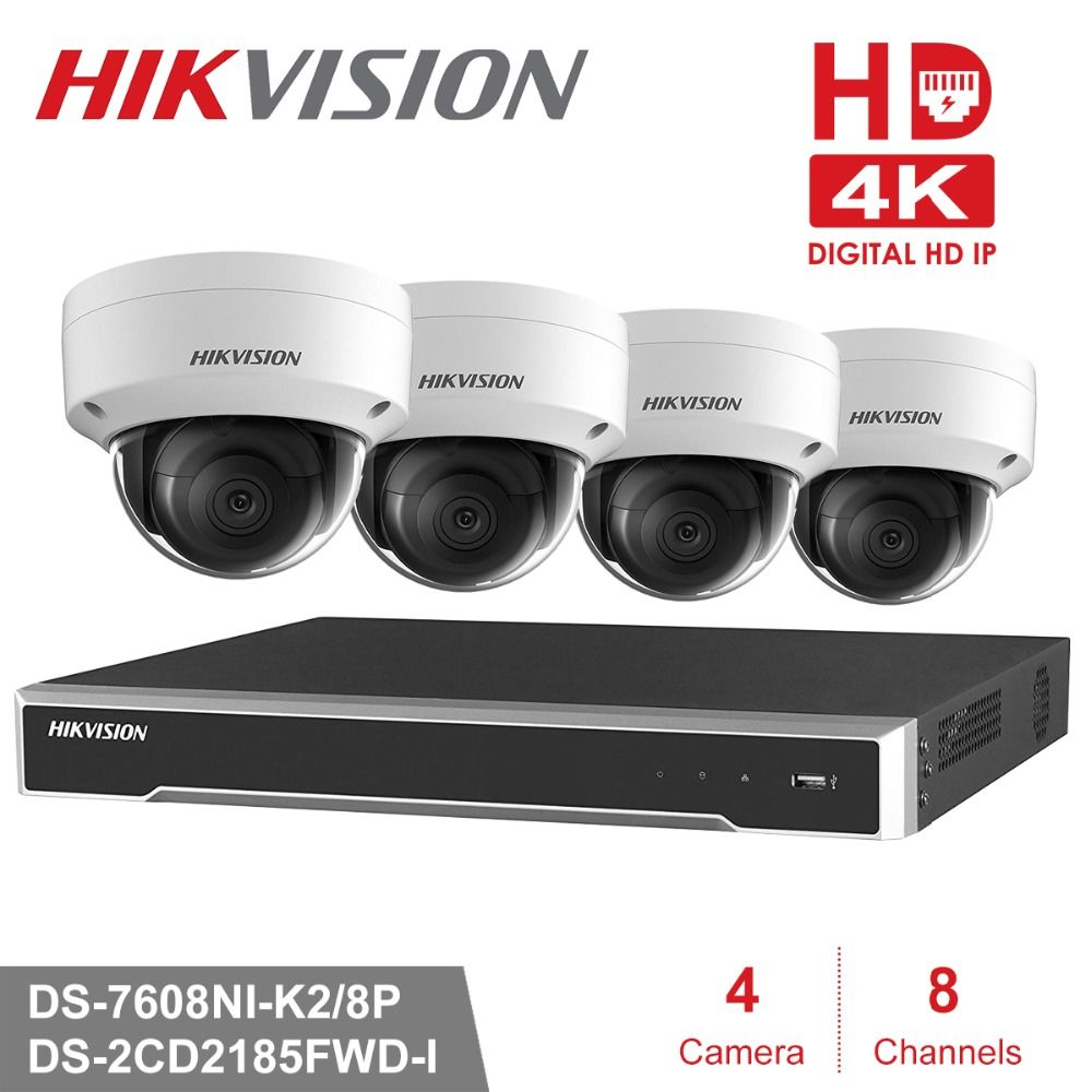 Hikvision 8ch Security Camera System POE 8MP 4PCS Outdoor IP Camera Surveillance System POE NVR Kit 8MP Waterproof P2P support