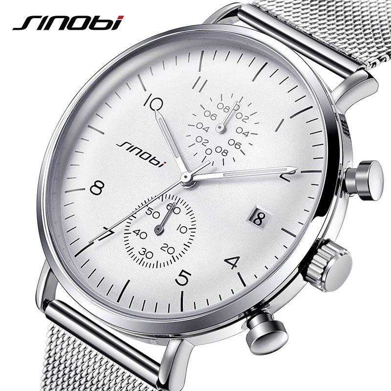 SINOBI Montres Hommes Marque De Luxe En Acier Inoxydable Étanche Quartz Hommes de Montre-Bracelet Homme Horloge Argent relogio masculino 2018 Nouvelle