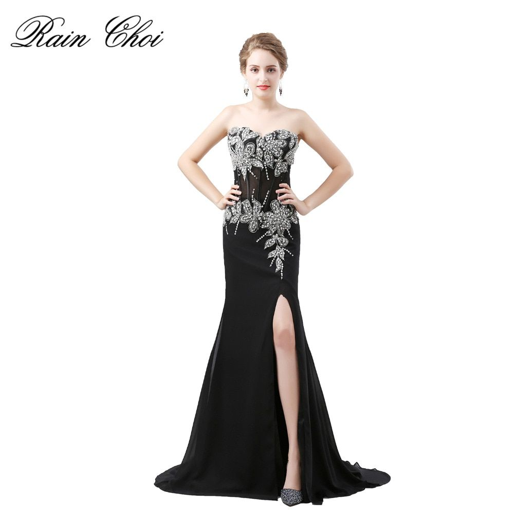 Strapless Mermaid Long Evening Dresses Beaded Trumpet Prom Dress Split Robe De Soiree