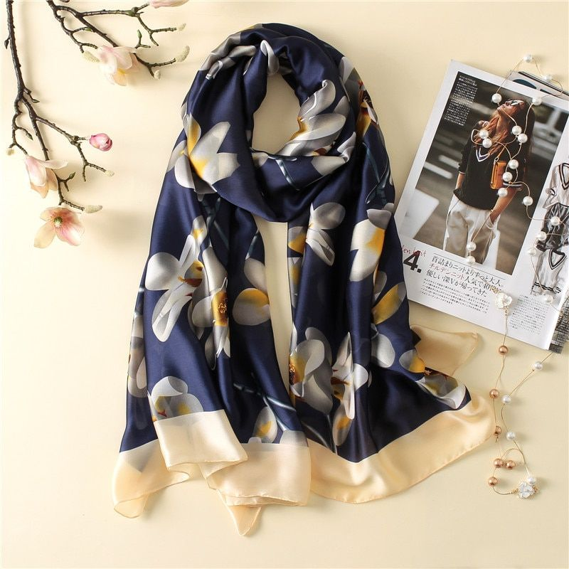 2017 luxury brand new summer women's scarf fashion lady silk scarves print soft shawls pashmina foulard femme long size bandana