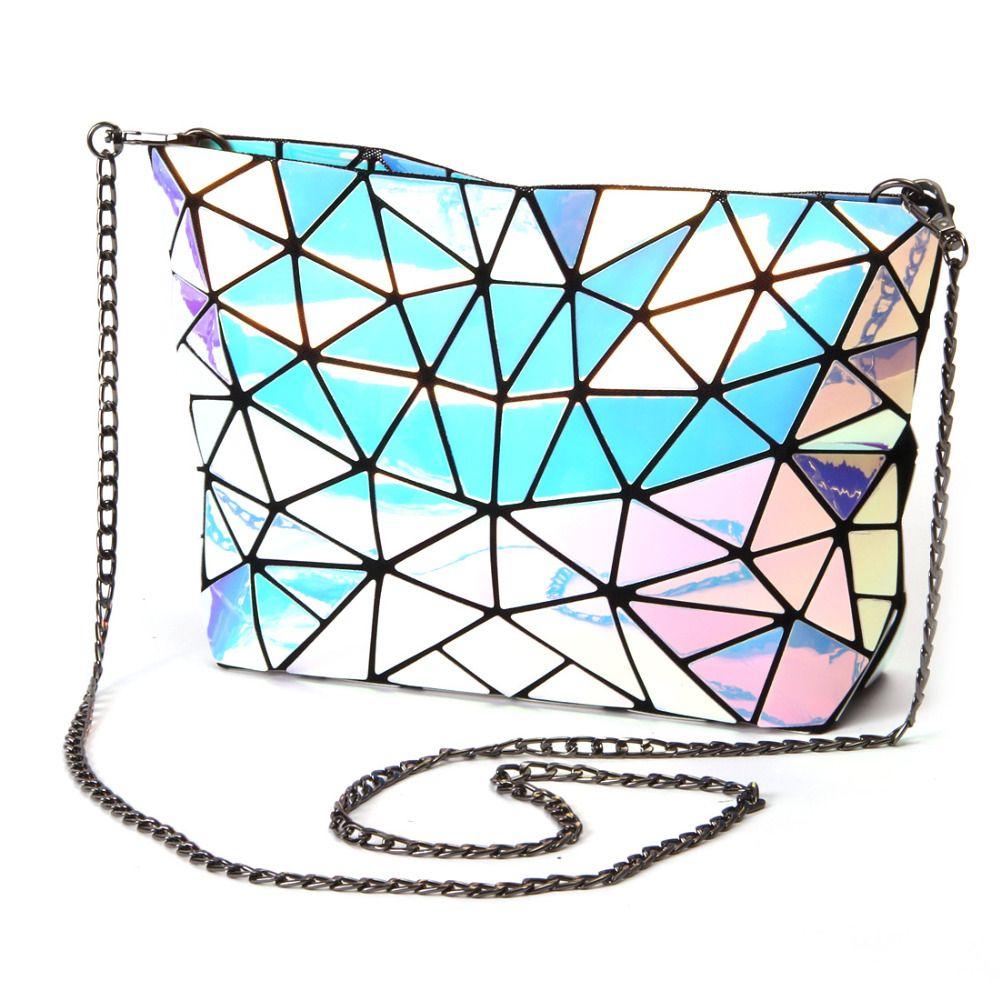 Fold Women-bag Geometric Plaid Bag Casual Tote Chain Shoulder baobao bag female Composite style hologram laser silver bag