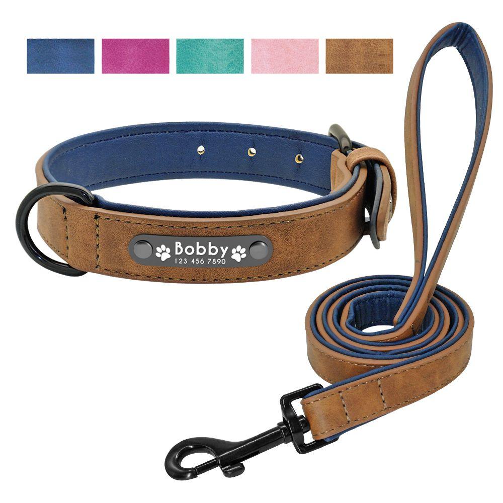 Ensemble de laisse de collier de chien en cuir personnalisé colliers de chiens 2 couches laisse de chien en cuir pour petits chiens de taille moyenne Pitbull