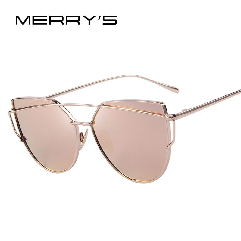 MERRY'S Fashion Women Cat Eye Sunglasses Classic Brand Designer Twin-Beams Sunglasses Coating Mirror Flat Panel <font><b>Lens</b></font> S'7882