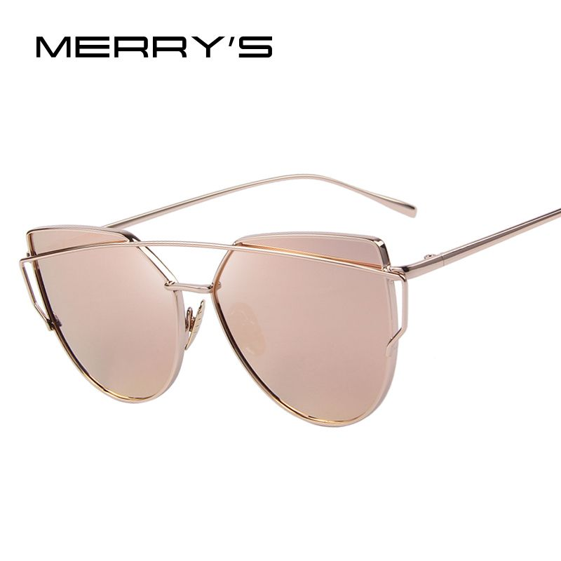MERRY'S Fashion Women Cat Eye Sunglasses Classic Brand Designer Twin-Beams Sunglasses Coating <font><b>Mirror</b></font> Flat Panel Lens S'7882