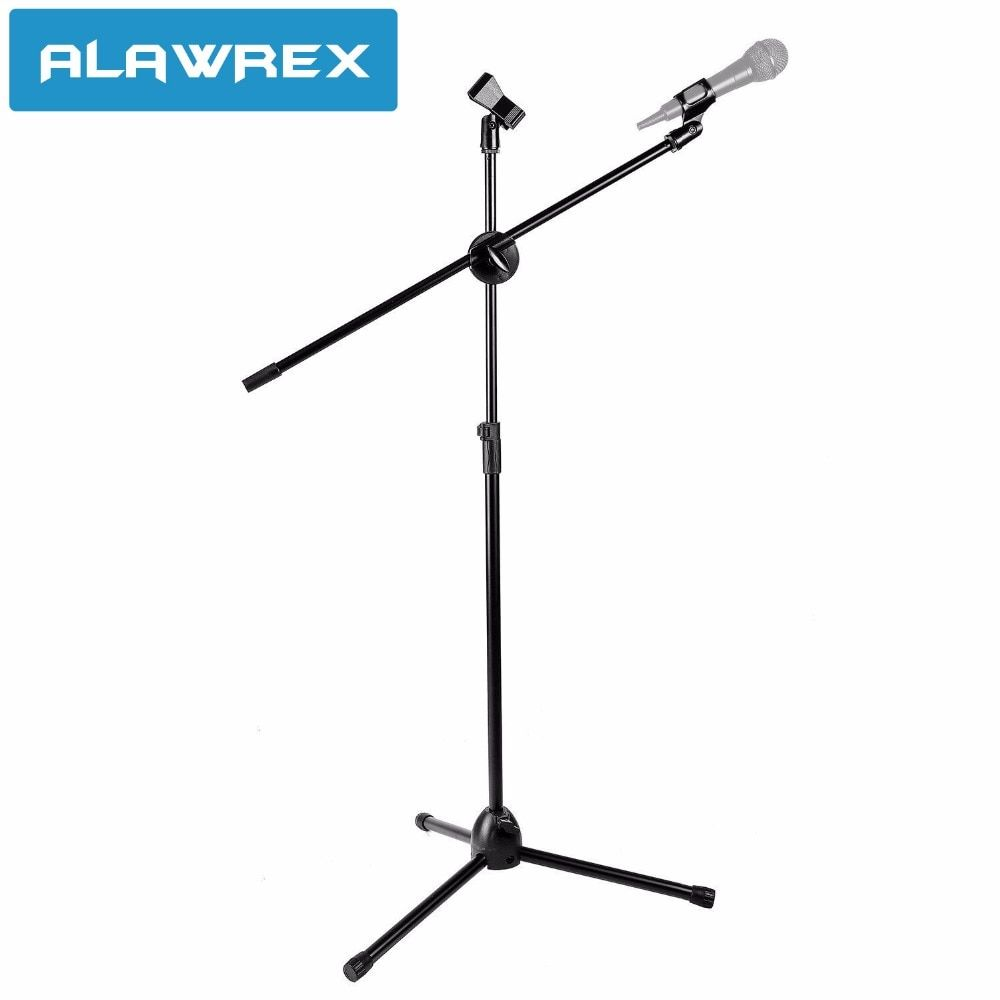 ALAWREX AX-107 Professional Dual Microphone Metal Stand floor Tripod Adjustable Clip Microphone Holder Telescopic Boom Support