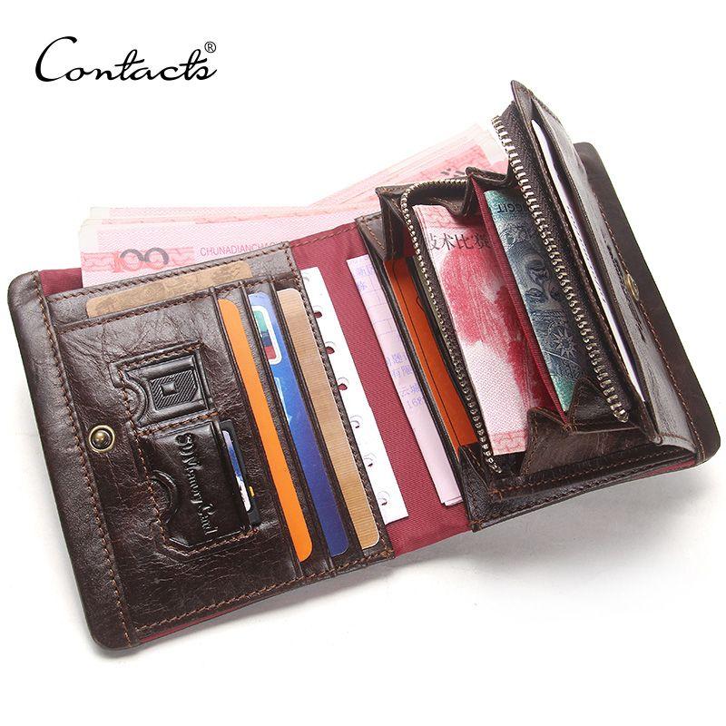 CONTACT'S Hommes de Portefeuilles Véritable porte-Cartes En Cuir Avec Fermeture Éclair Coin Poches Homme Bourse Walet Vintage Hommes Cuzdan Marque De Luxe
