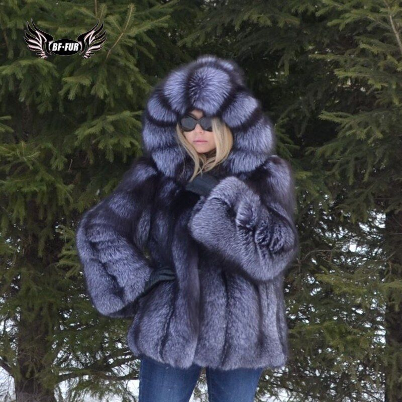 BFFUR Fashion Womens Coats 2018 Winter Palace Fur Coats From Natural Fur Real Leather Jacket Female Fox Outerwear Plus Size Tops