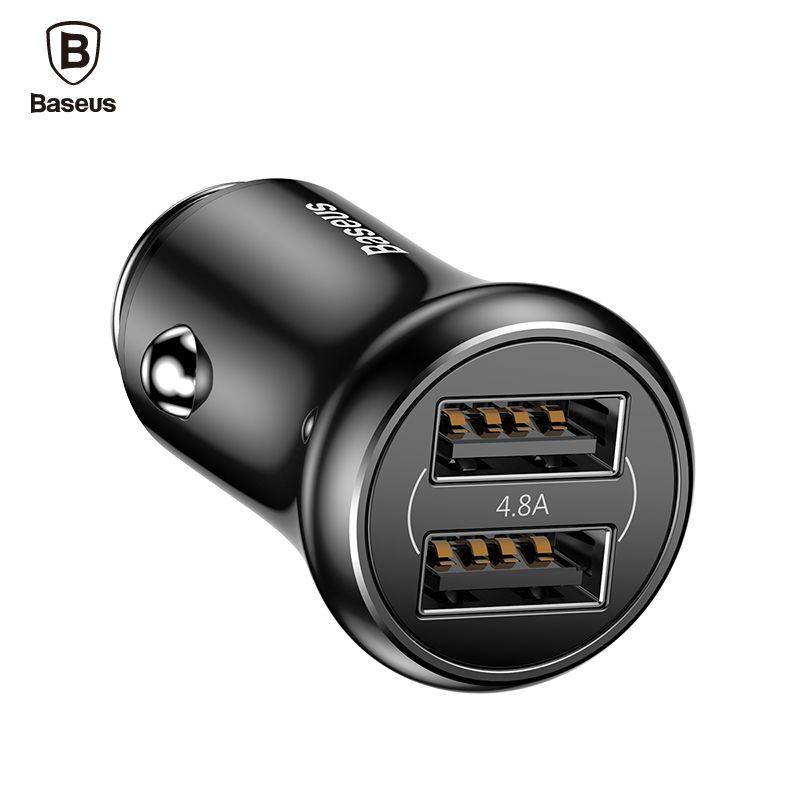 Baseus 4.8A USB Chargeur De Voiture Mini Double Port De Voiture-chargeur Adaptateur rapide De Charge De Voiture Mobile Téléphone Chargeur Pour iPhone X 8 Tablet