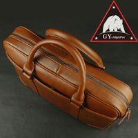 ANAPH maletines de cuero de grano completo para hombres, maletín de ordenador portátil de 15,6 pulgadas/bolso de mano de oficina de oliva (Hone) marrón