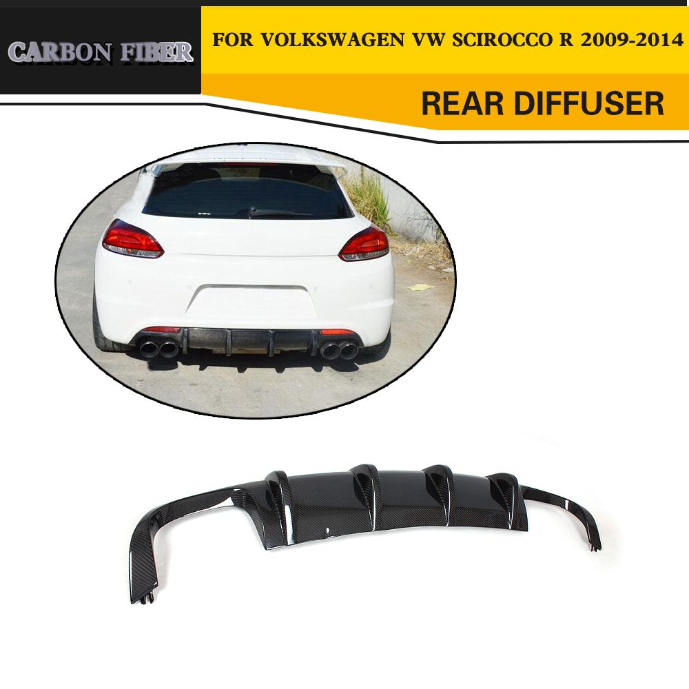 Car Styling Carbon Fiber Car Rear Diffuser Lip Spoiler For VW Scirocco R Only 2009-2014