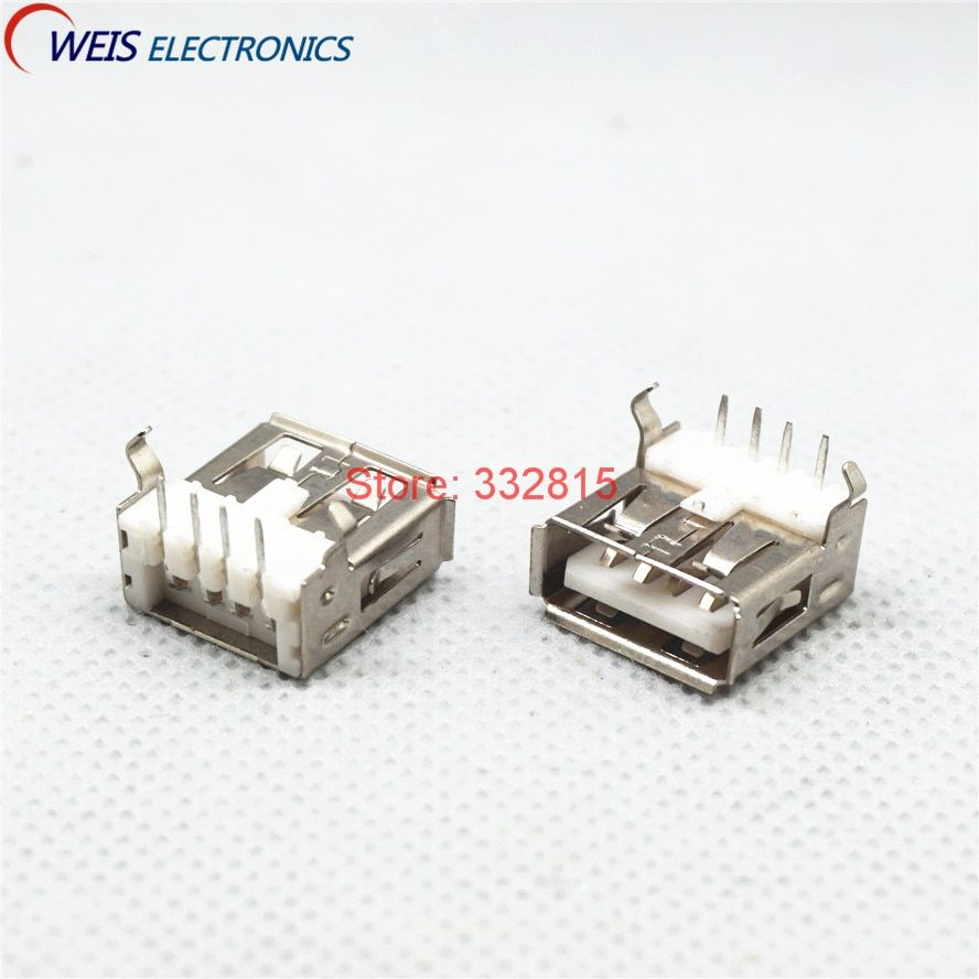 20PCS USB Female sockets 4pin USB connector Type A 90 degree bent pins charging iron / copper shell  Free shipping