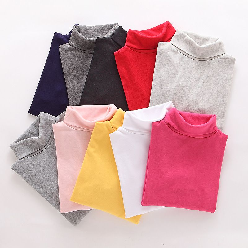 High collar boys Children T-shirt Baby Girl turtleneck Long sleeve solid color Blouse Boys and girls Shirts Children