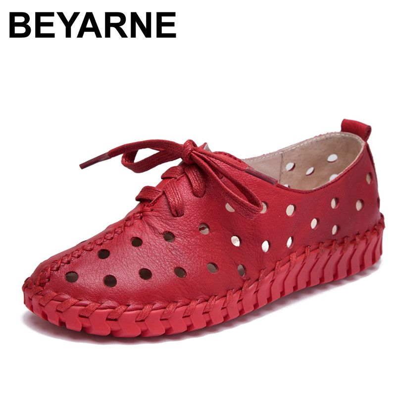 BEYARNE Spring and summer new genuine leather shoes women hollow female Lace genuine leather flats women shoes casual shoes wome