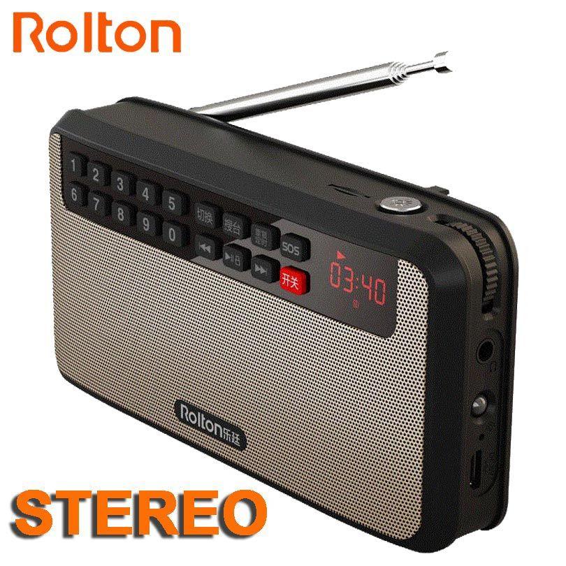 RoltonT60 MP3 Stéréo Lecteur Mini Portable Audio Haut-parleurs FM Radio Avec Écran LED Soutien TF carte À Jouer Musique LED lampe de Poche