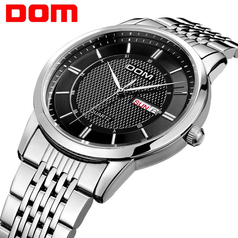 DOM men watch top Luxury Men Quartz Analog Clock Leather Steel <font><b>Strap</b></font> Watches hours Complete Calendar Relogios Masculino M-11