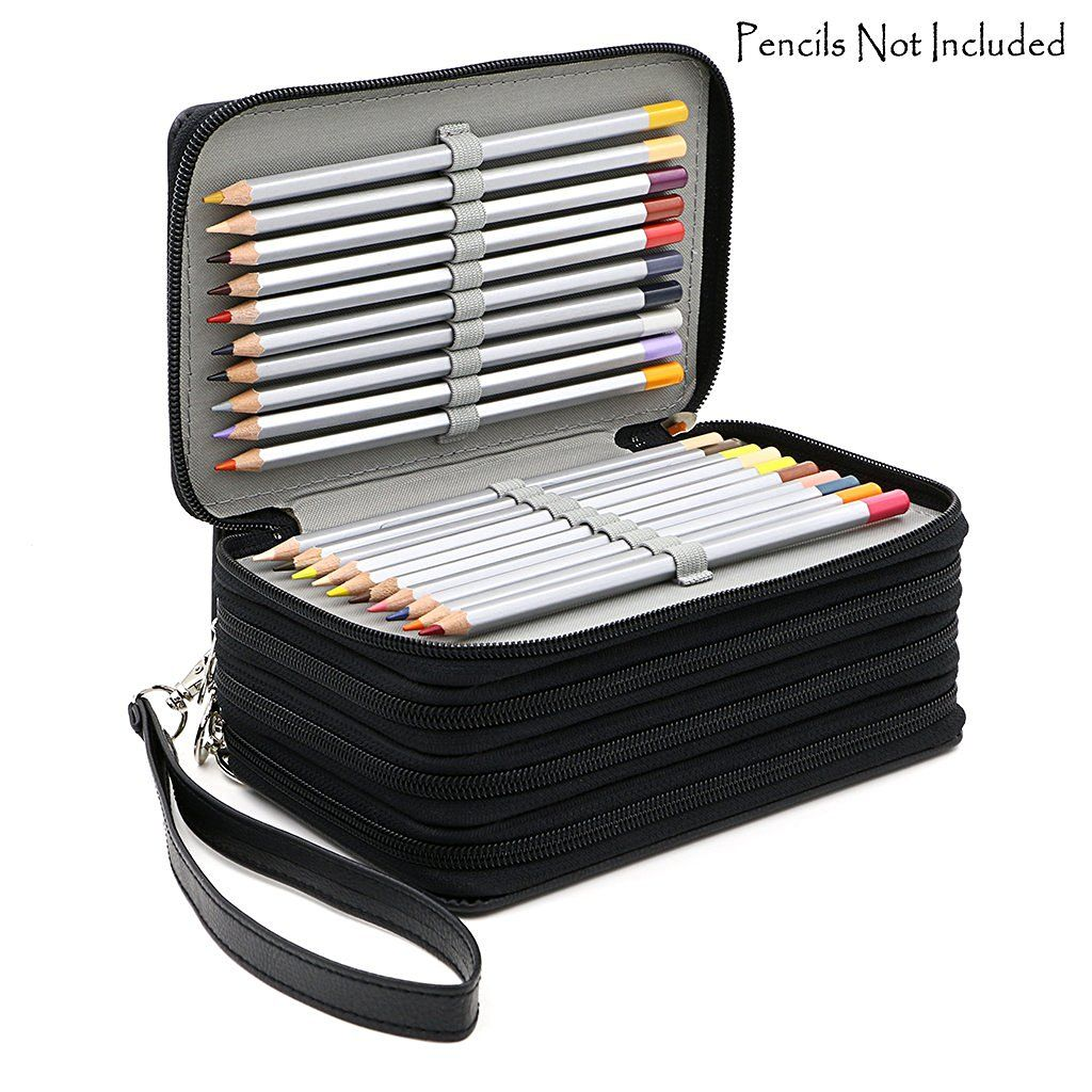72 Holders 4 Layers Handy PU Leather School Pencils Case Large Capacity <font><b>Colored</b></font> Pencil Bag For Student Gift Art Supplies