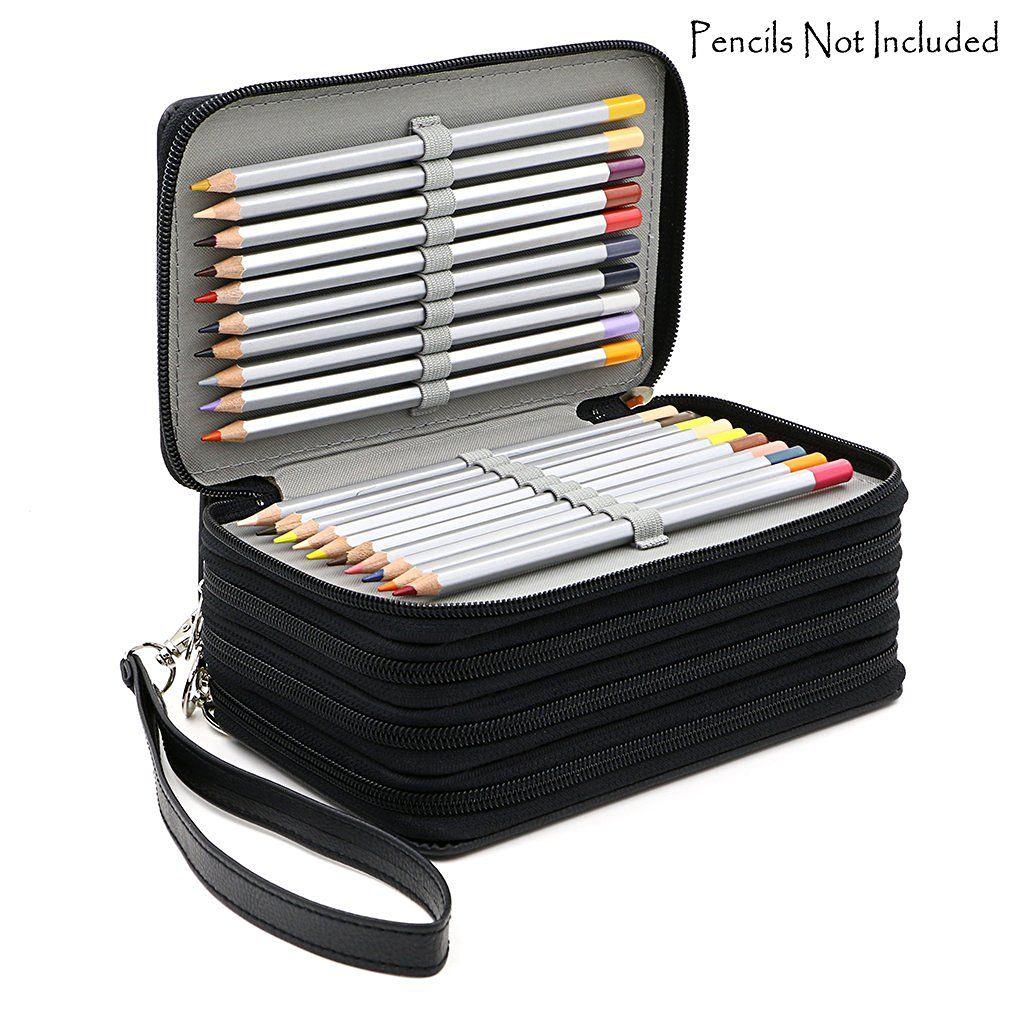 72 porte-crayons 4 couches pratiques en cuir PU étui à crayons de grande capacité sac à crayons de couleur pour cadeau étudiant fournitures d'art