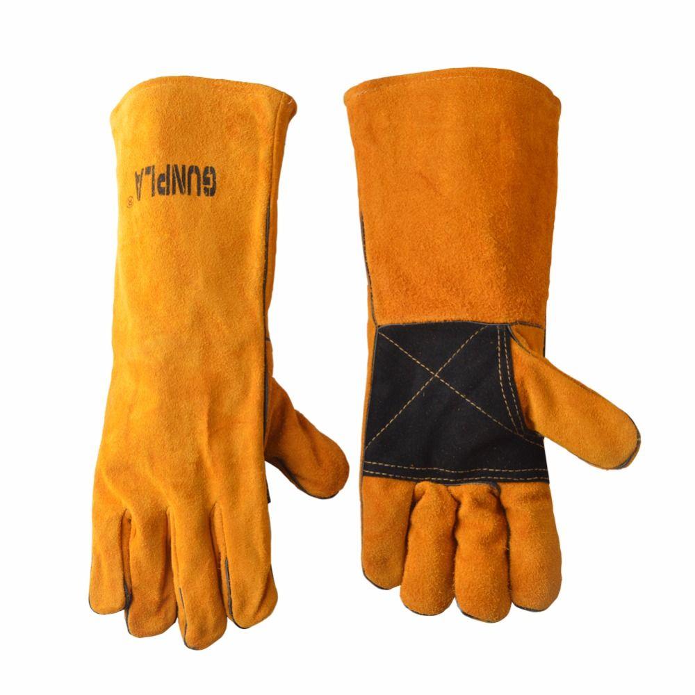 Gunpla 10,5/16 zoll Leder Schweißen Schutz Handschuhe Wärme Beständig Sicherheit Handschuhe Für Schweißer Arbeits/Gartenarbeit/BBQ /backen