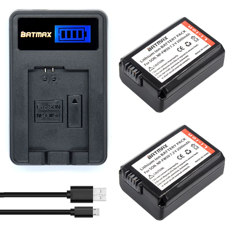 2pcs NP-FW50 NP FW50 Camera Battery + USB LCD Display Charger for SONY NEX 5T 5R 5TL 5N 5C 5CK A7R A7 F3 3N 3CA55 A37 A5000