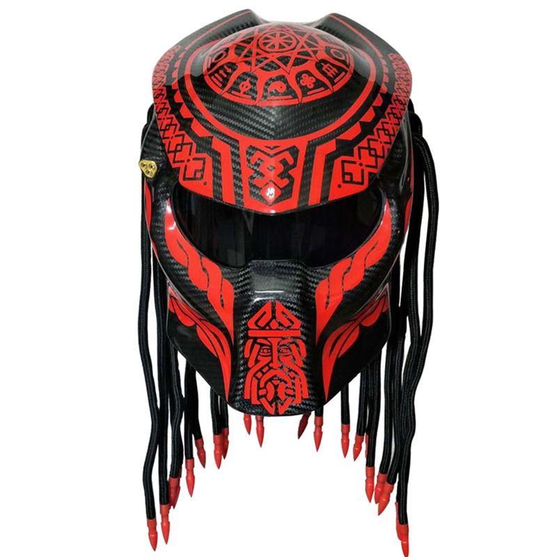 Neue predator carbon faser moto rcycle helm full face moto helme männer nacht street racing helm rot laser licht helm