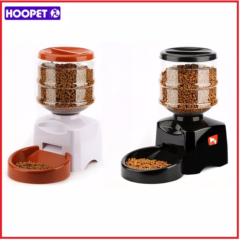 Hoopet 5.5L Automatic Pet Feeder with <font><b>Voice</b></font> Message Recording and LCD Screen Large Smart Dogs Cats Food Bowl Dispenser Black