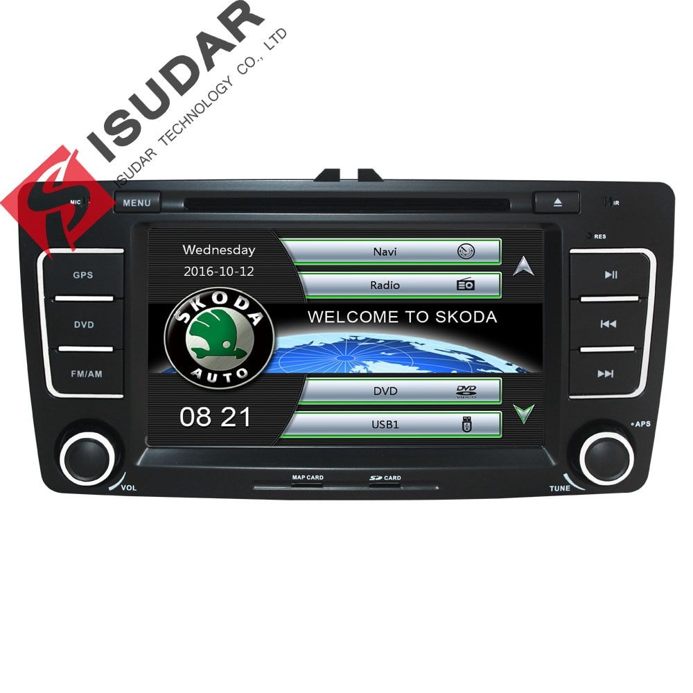 Isudar Auto Multimedia-player GPS Autoradio 2 Din 7 Zoll Für SKODA Octavia 2009-2013 Bluetooth IPOD FM Radio RDS WIFI DVR SD