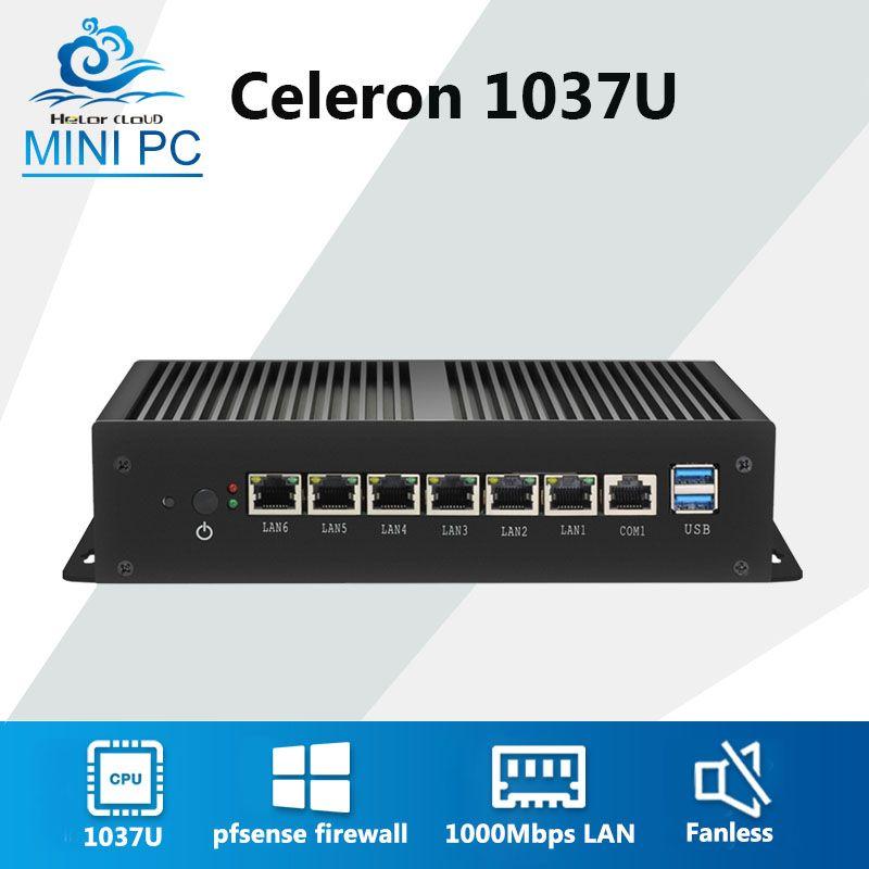 Mini Computer Celeron 1037U 6 1000 Mbps Gigabit Ethernet LAN Fanless Mini PC VPN Dient Router Firewall Pfsense Windows 7