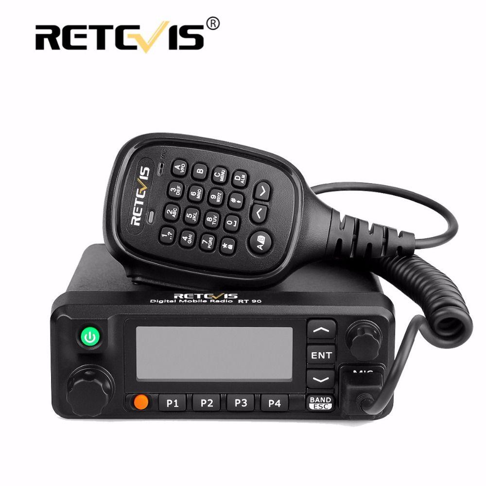 Retevis RT90 Mobile Voiture Talkie Walkie VHF UHF Double Bande DMR 50 W TDMA VOX Numérique/Analogique Deux Modes Radio Station + Programme Câble