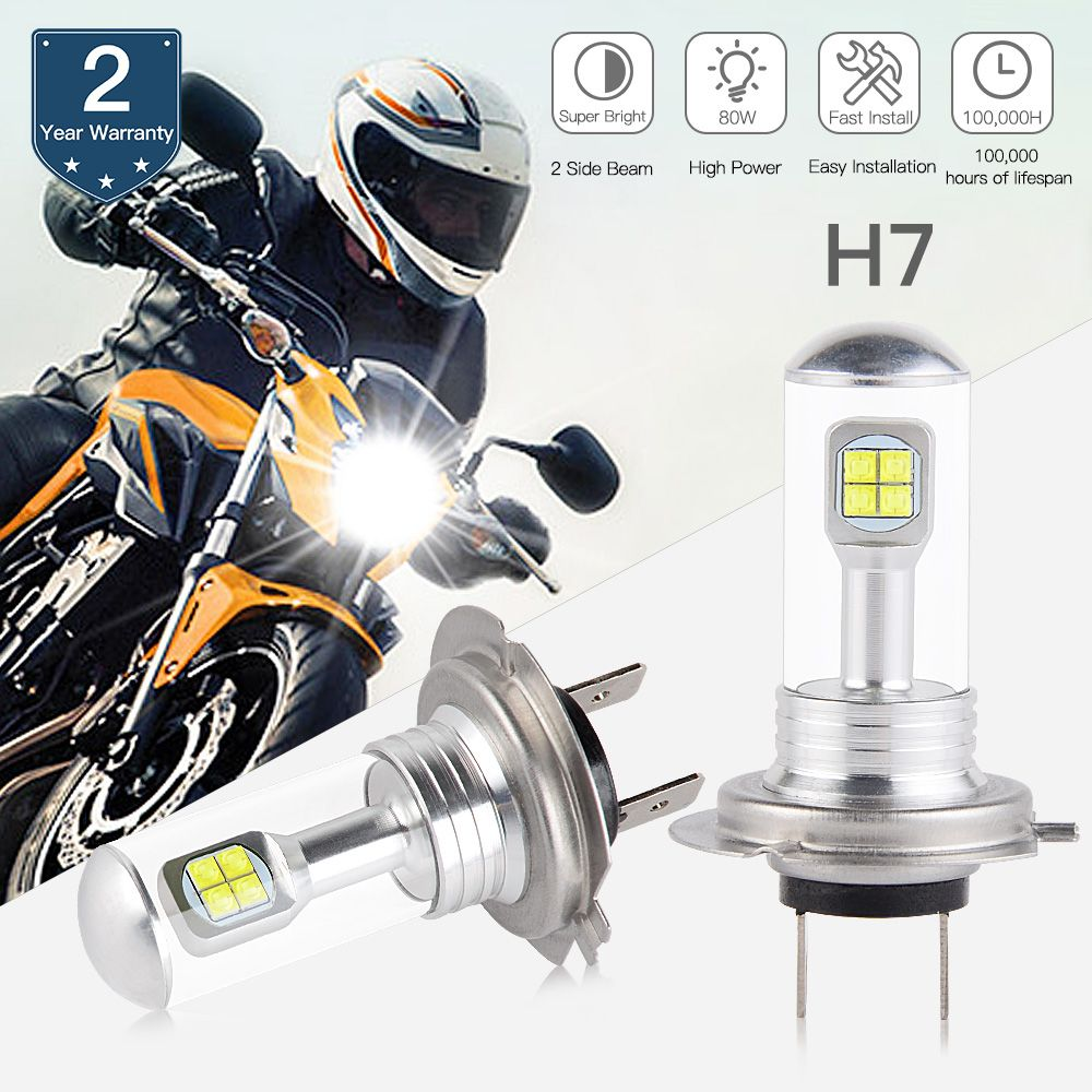 NICECNC 80W H7 Headlight Bulbs LED Lamp For Suzuki GSXR 600 750 GSXS 1000F ABS DL650A DL1000 V-Strom GSX1300R Hayabusa 2012-2017