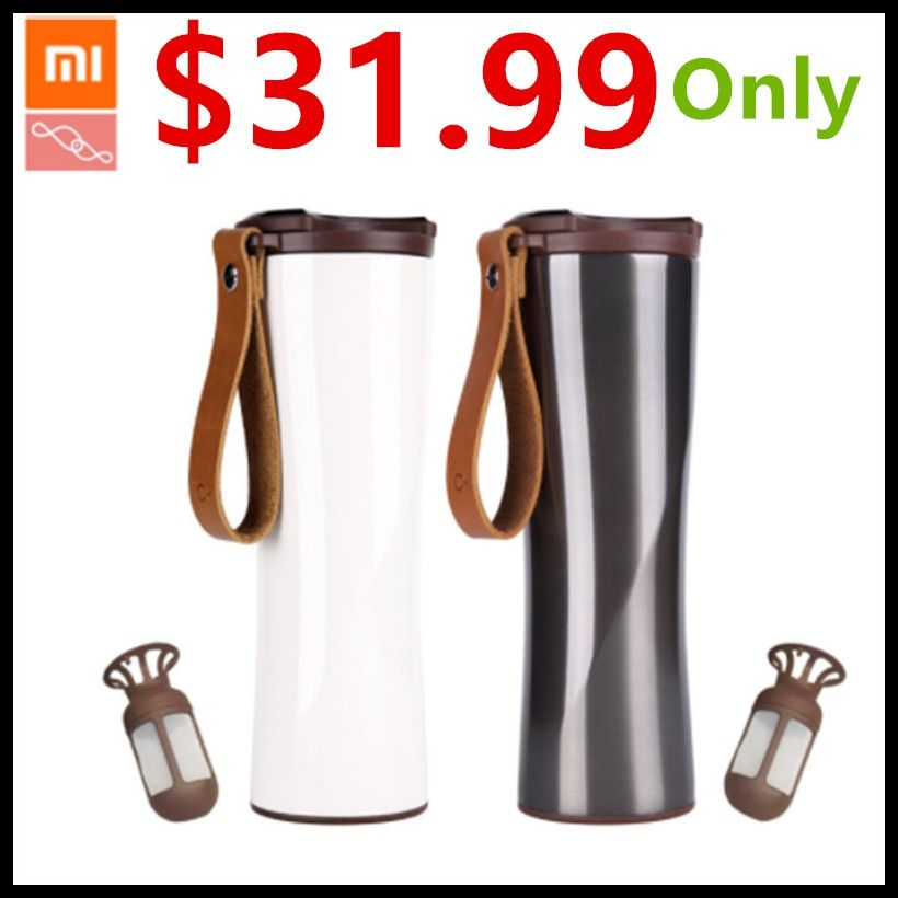 Xiaomi Kiss Kiss Fish Slim Smart Cup 430ml OLED Temperature Screen Protable Stainless Steel Cup with Leather Rope Mug <font><b>Option</b></font>