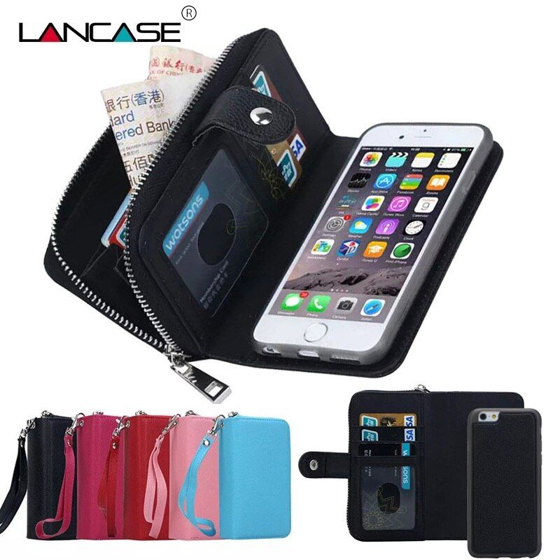For iPhone XS Max Case Leather <font><b>Flip</b></font> Detachable Zipper Wallet Case For iPhone 6 6S Plus 7 8 X XR 5S SE Multifunction Case Cover