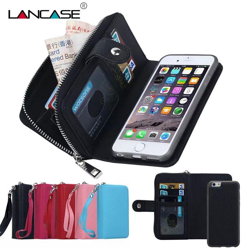 LANCASE Portefeuille étuis pour iPhone 7 Cas En Cuir Amovible Flip étui portefeuille à fermeture éclair Pour l'iphone 6/6 S/7/8/ PLUS/X/XR/XS/XS MAX/5 S/SE