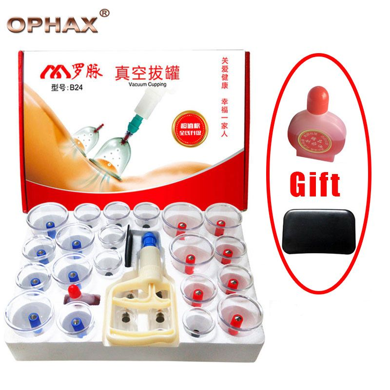 OPHAX 24pcs Vacuum Cupping Massage Cans Out Vacuum Apparatus Therapy Relax Massager Curve Suction Pumps Body Vacuum Cupping Set