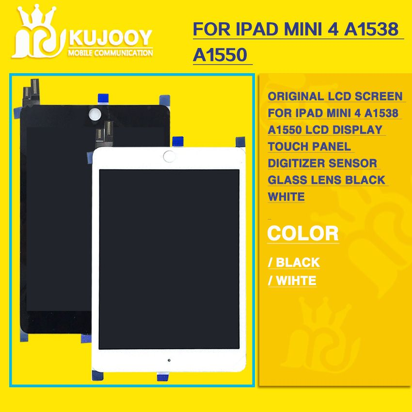 Original LCD Screen for iPad mini 4 A1538 A1550 LCD Display Touch Panel Digitizer Sensor Glass Lens Assembly black white