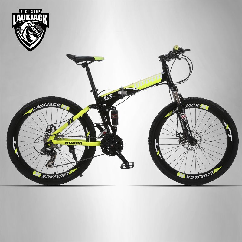 <font><b>UPPER</b></font> Mountain bike full suspension system steel folding frame 24 speed Shimano disc brakes