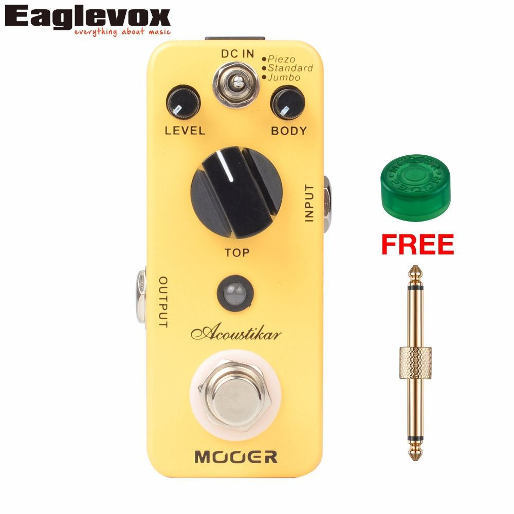 Mooer Acoustikar Guitar Simulator Effect Pedal Mini Electric Guitar Effects Truebypass with Free Connector and Footswitch Topper