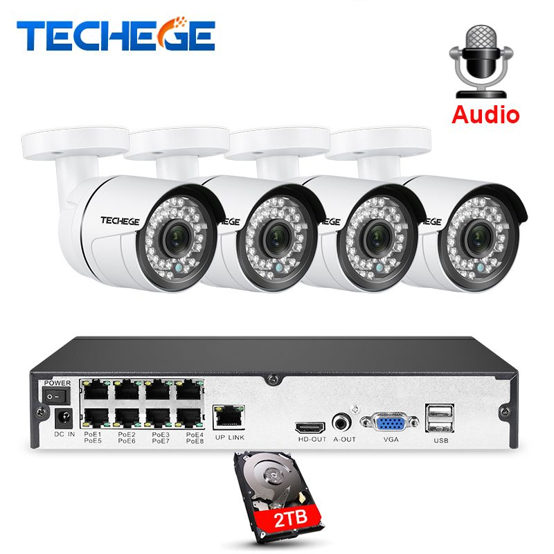 Techege 8CH 1080P POE NVR kit 2MP 3000TVL PoE IP Camera P2P Audio CCTV System IR Outdoor Night Vision Video Surveillance Kit