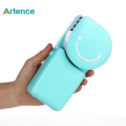 Portable Mini Air Conditioner Fan Smile Face USB Rechargeable Cooling Fan With Lithium Battery Outdoor Travelling Handheld Fan