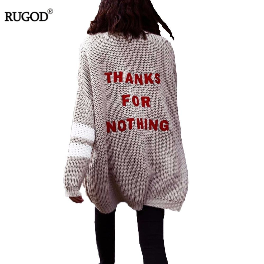 Rugod 2018 Fashion Letter Embroidery Cardigan Feminino Women Winter Warm Sweater Female Casual Long Cardigan Poncho Pull Femme