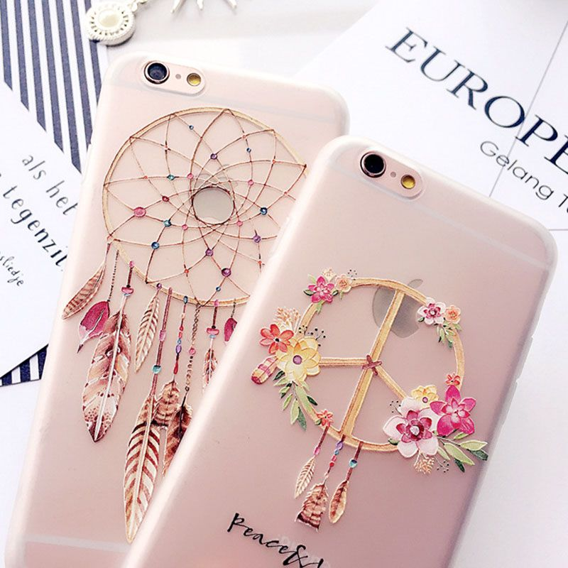 Flach Relief Phone Cases Für Apple iPhone 6 6 S 7 8 Transparent Dream Catcher Silikon Serie Kristall Blume Zurück abdeckung
