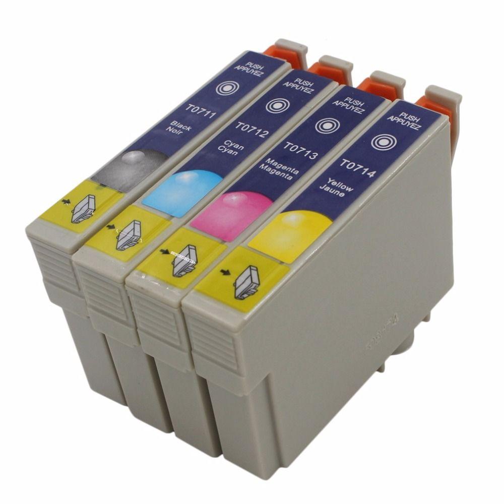 Echtes T0715 Multi Tintenpatronen Für Epson T0711 T0712 T0713 T0714 4 Farben Einfach zu bedienen wasserbeständigkeit Drop Shipping
