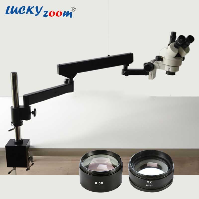 Luckyzoom 3.5X-90X ARTICULATING ARM STEREO Trinocular MICROSCOPE SZM2.0X SZM0.5X Auxiliary Object Lens Microscopio Accessories