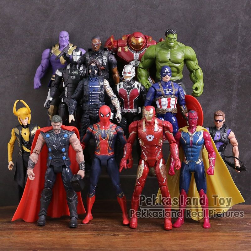 Avengers 3 Infinity War PVC Figures Toys 14pcs/set Thanos Iron Man Captain America Vision Thor Loki Hulkbuster Spiderman