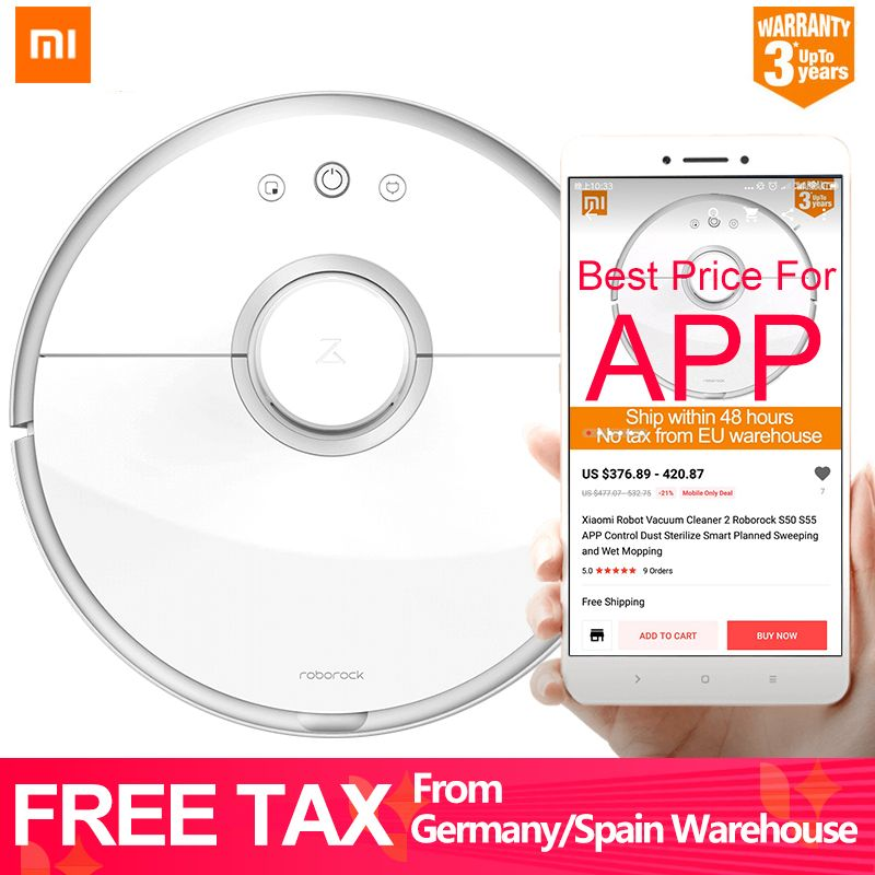 Xiaomi Robot Vacuum Cleaner 2 Roborock S50 S55 APP Control Dust Sterilize Smart Planned Sweeping and Wet Mopping