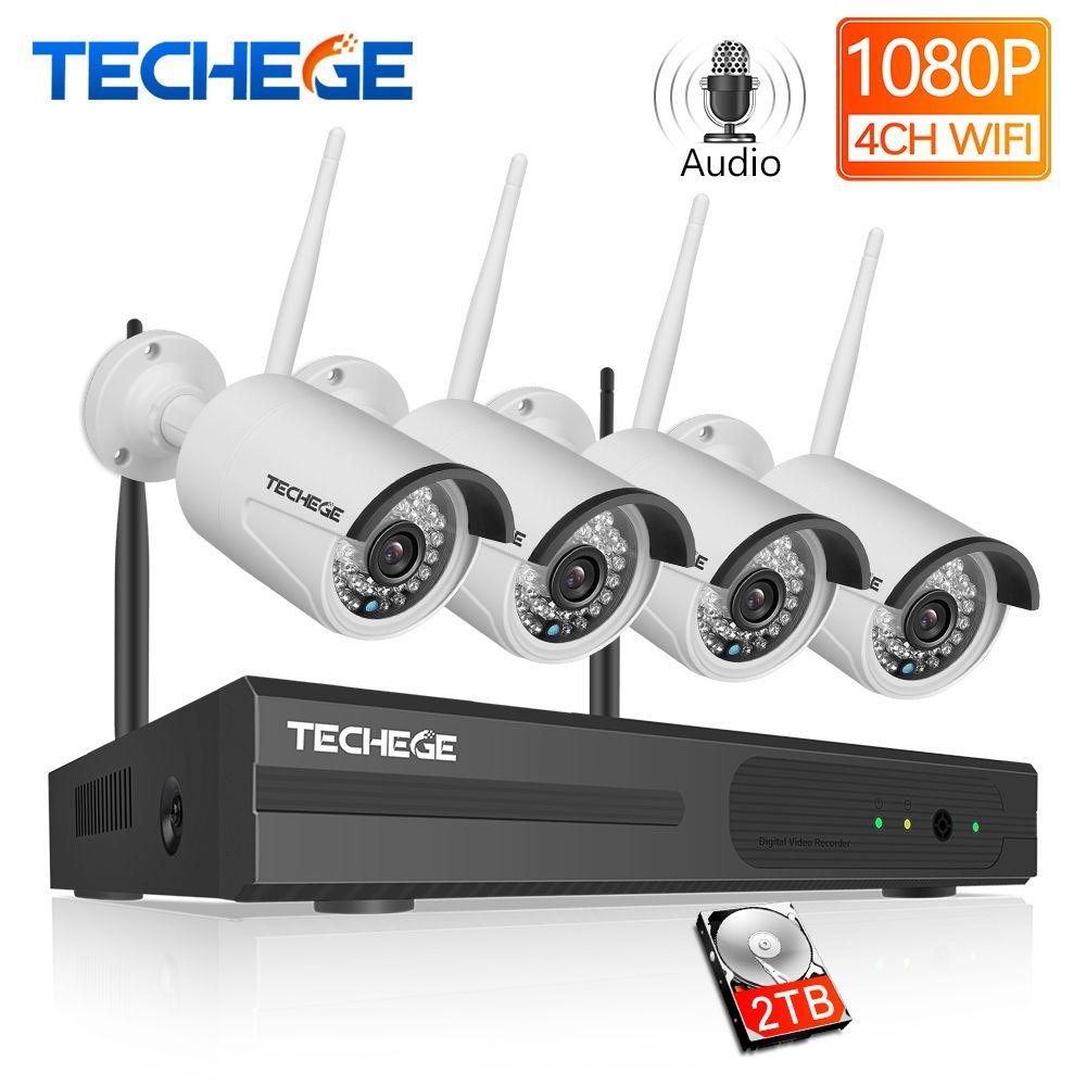Techege 4CH Überwachung 1080 P NVR 1080 P WIFI IP Kamera 2.0MP Audio wireless kit WiFi Kamera CCTV System P2P CCTV kamera system