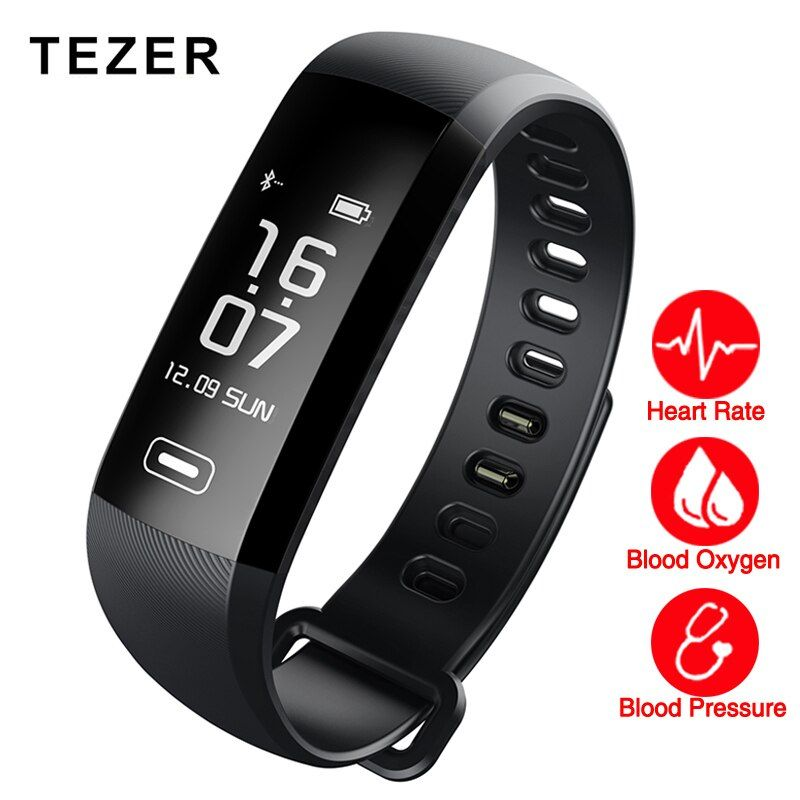 TEZER R5MAX blood pressure <font><b>heart</b></font> rate monitor Blood oxygen 50 Letter message push large smart Fitness Bracelet Watch intelligent