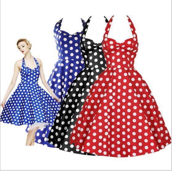 Nouveau Style d'été rétro Hepburn Vestidos femme Vintage robe grande balançoire à pois dos nu Rockabilly Dot robes Sexy J713